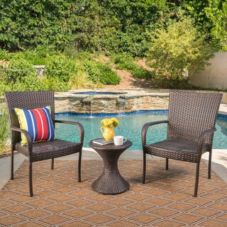 Newport Outdoor 3-Piece Round Wicker Chat Set by Christopher Knight Home