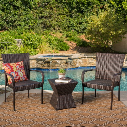 Bristol Outdoor 3-Piece Square Wicker Chat Set by Christopher Knight Home