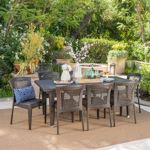 Landen Outdoor 9-Piece Rectangular Wicker Dining Set by Christopher Knight Home