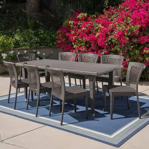Landen Outdoor 9-Piece Rectangular Wicker Dining Set by Christopher Knight Home