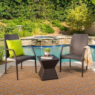 Riley Outdoor 3-Piece Square Wicker Chat Set by Christopher Knight Home