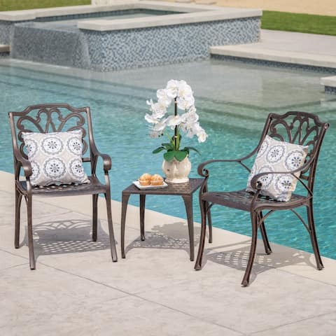 Kai Outdoor 3-Piece Square Aluminum Chat Set by Christopher Knight Home
