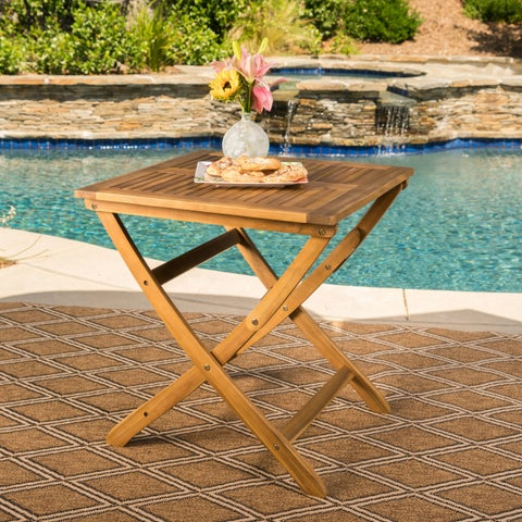 Positano Outdoor Foldable Acacia Wood Side Table by Christopher Knight Home