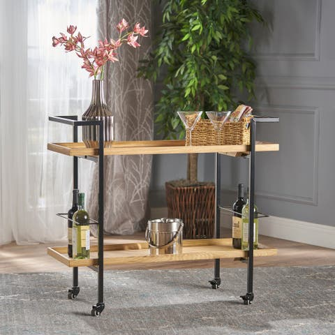 Gerard Modern Industrial 2-Tier Wood Bar Cart with Wheels by Christopher Knight Home