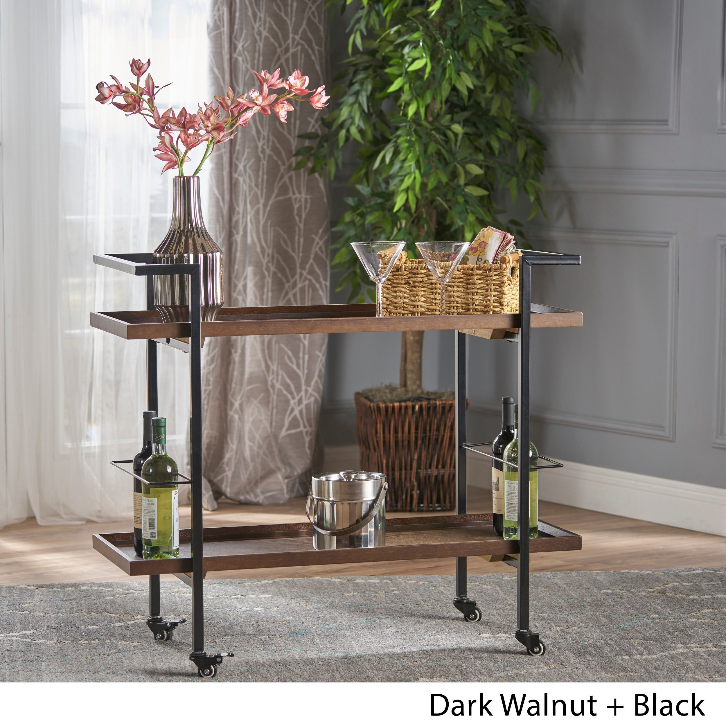 Picture of: Gerard Industrial Wood Bar Cart By Christopher Knight Home Overstock 17229629