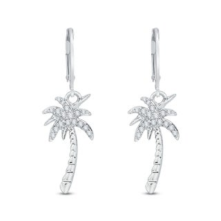Sterling Silver 1/10ct Diamond Palm Tree Dangle Earrings(G-H,I2-I3)