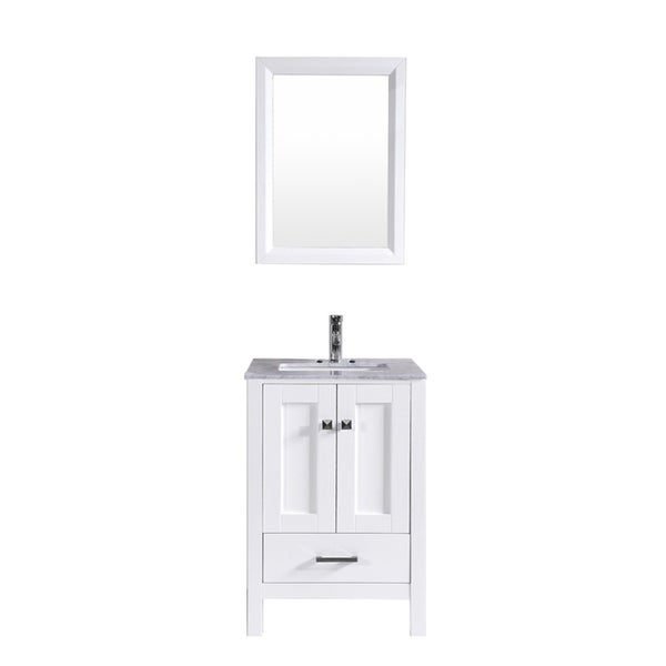 "Totti Shaker 24"" Transitional White Bathroom Vanity"