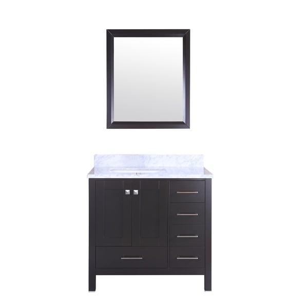 "Totti Shaker 36"" Transitional Espresso Bathroom Vanity"