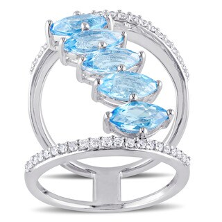 Miadora Signature Collection Sterling Silver Swiss-Blue Topaz and 1/3ct TDW Diamond 5-Stone Cluster Openwork Ring