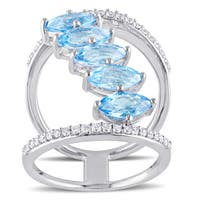 Miadora Signature Collection Sterling Silver Swiss-Blue Topaz and 1/3ct TDW Diamond 5-Stone Cluster - Blue
