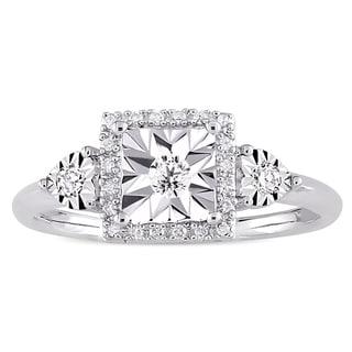 Miadora Sterling Silver 1 6ct TDW Diamond Square Halo Engagement Ring White