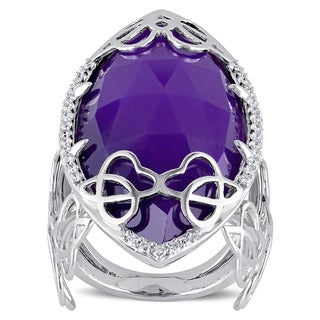 Miadora Signature Collection Sterling Silver Marquise-Cut Purple Chalcedony & 1/3ct TDW Diamond Abst