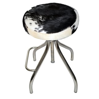 Cerus Multicolored Leather/Metal Cow Hide Bar Stool
