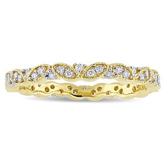 Miadora Signature Collection 14k Yellow Gold 1/4ct TDW Diamond Milgrain Marquise Cluster Stackable Eternity Band