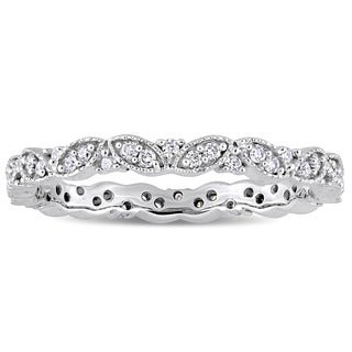 Miadora Signature Collection 14k White Gold 1/4ct TDW Diamond Milgrain Marquise Cluster Stackable Eternity Band