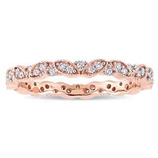 Miadora Signature Collection 14k Rose Gold 1/4ct TDW Diamond Milgrain Marquise Cluster Stackable Eternity Band