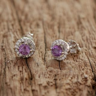 Handcrafted Rhodium Plated Sterling Silver 'Thai Sparkles' Amethyst Zirconia Earrings (Thailand)