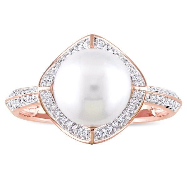 Miadora Signature Collection 10k Rose Gold Cultured Freshwater Pearl an 1/4ct TDW Diamond Halo State - White