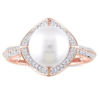 Miadora Signature Collection 10k Rose Gold Cultured Freshwater Pearl an 1/4ct TDW Diamond Halo Statement Ring (8.5-9 mm)