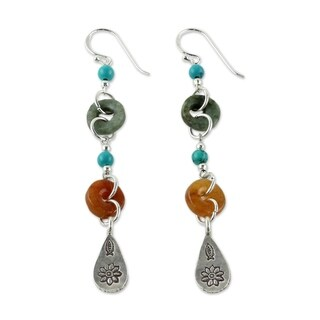 Handcrafted Sterling Silver 'Hill Tribe Adventure' Multi-gemstone Earrings (Thailand)