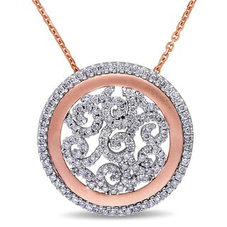 Miadora Signature Collection 2-Tone 14k White and Rose Gold 3/4ct TDW Diamond Filigree Medallion Halo Necklace