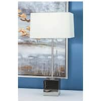 Urban Designs Black Marble With Silver Accents Table Lamp (Set of 2)
