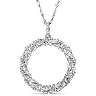 Miadora Signature Collection 14k White Gold 1/2ct TDW Diamond Twisted Open Circle Necklace
