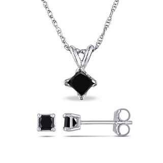 Miadora 10k White Gold 5/8ct TDW Princess-Cut Black Diamond Square Solitaire Necklace and Stud Earrings Set