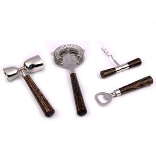 INOX 4-piece Coconut Wood Handle Bar Tools Set