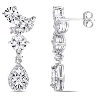 Miadora Sterling Silver 1/3ct TDW Diamond Dangle Teardrop Cluster Earrings|https://ak1.ostkcdn.com/images/products/17237485/P23492840.jpg?impolicy=medium