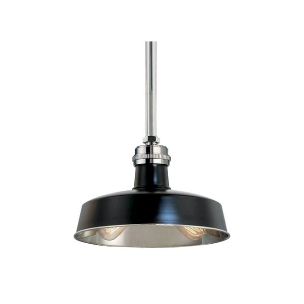 Hudson Valley Hudson Falls Black/Polished Nickel Metal 15 inch Pendant