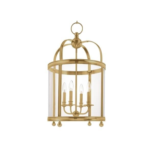 Hudson Valley Larchmont Aged Brass Metal 4-light Pendant