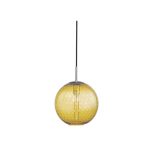 Hudson Valley Rousseau Polished Chrome Metal Medium Pendant, Light Amber Glass
