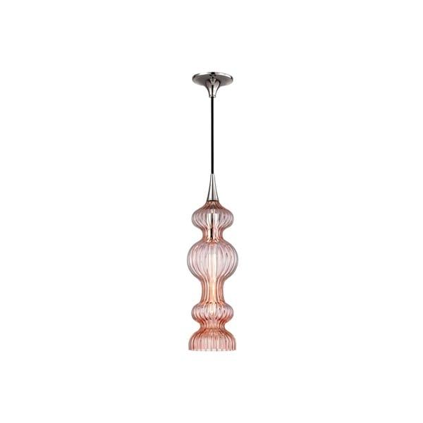 Hudson Valley Pomfret Polished Nickel Metal Pendant, Pink Glass