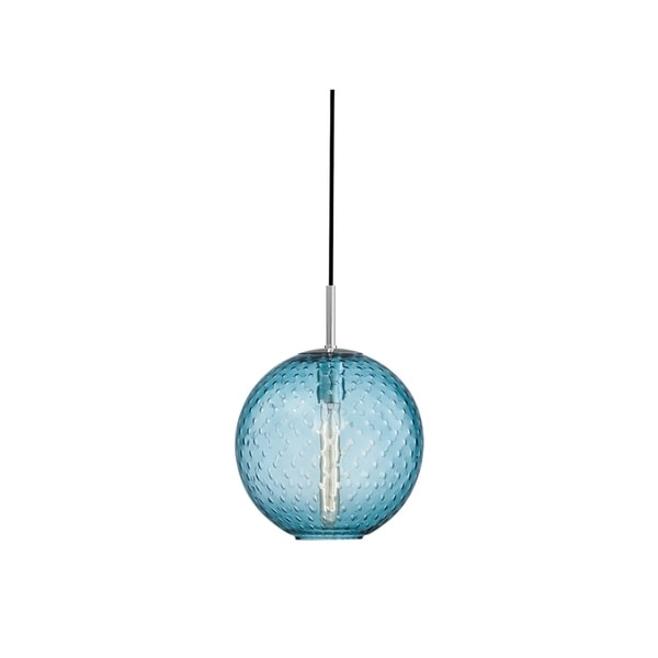 Hudson Valley Rousseau Polished Chrome Metal Medium Pendant, Blue Glass