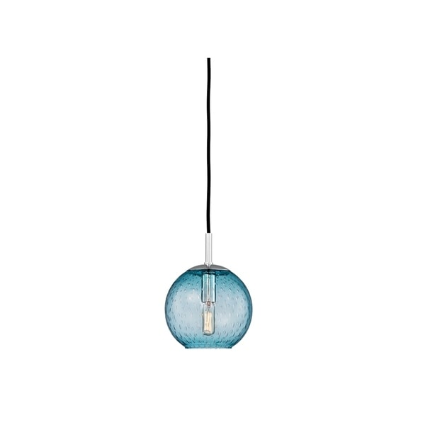 Hudson Valley Rousseau Polished Chrome Metal Small Pendant, Blue Glass