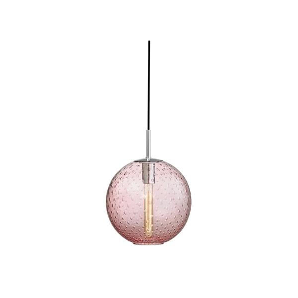Hudson Valley Rousseau Polished Chrome Metal Medium Pendant, Pink Glass
