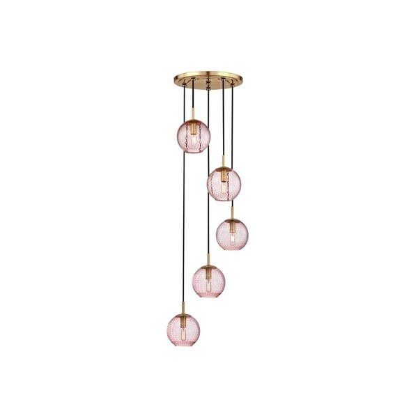 Hudson Valley Rousseau Aged Brass Metal 5-light Cluster Pendant, Pink Glass