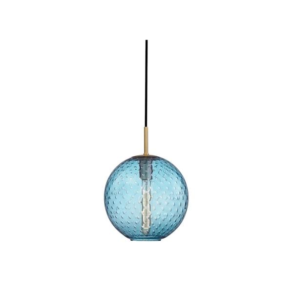 Hudson Valley Rousseau Aged Brass Metal Medium Pendant, Blue Glass