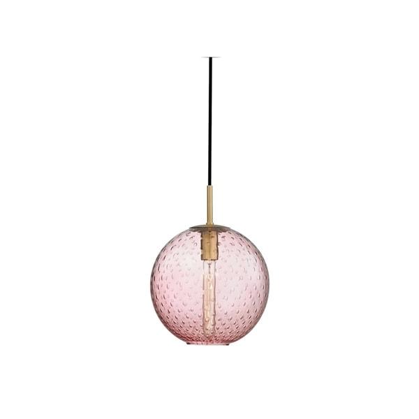 Hudson Valley Rousseau Aged Brass Metal Medium Pendant, Pink Glass