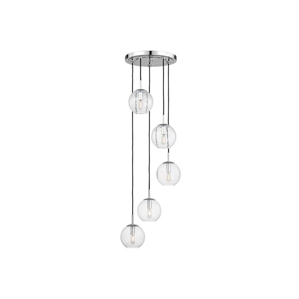 Hudson Valley Rousseau Polished Chrome Metal 5-light Cluster Pendant, Clear Glass