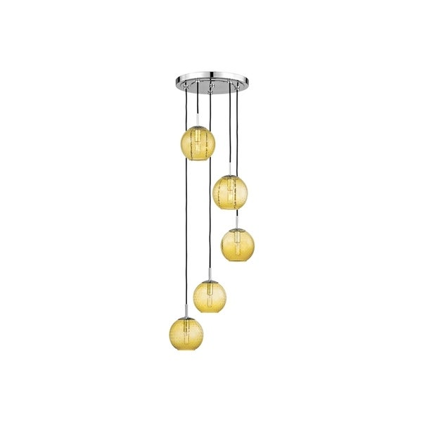 Hudson Valley Rousseau Polished Chrome Metal 5-light Cluster Pendant, Light Amber Glass