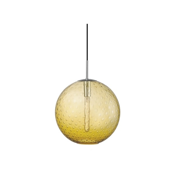 Hudson Valley Rousseau Polished Chrome Metal Large Pendant, Light Amber Glass