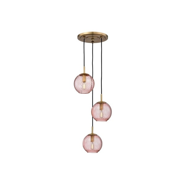 Hudson Valley Rousseau Aged Brass Metal 3-light Cluster Pendant, Pink Glass