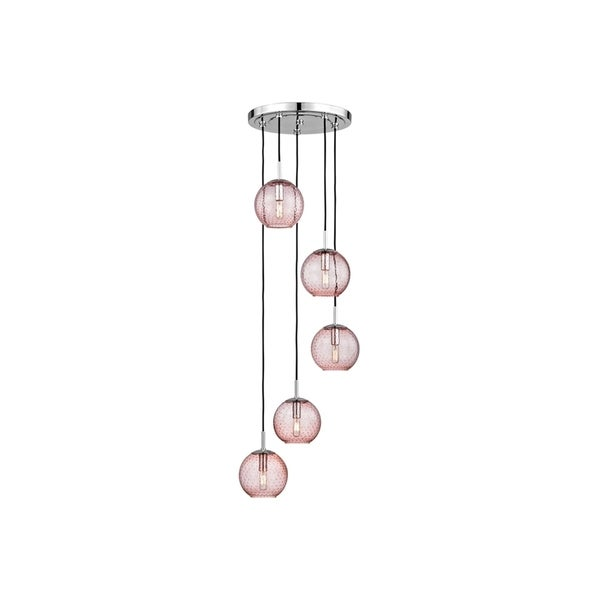 Hudson Valley Rousseau Polished Chrome Metal 5-light Cluster Pendant, Pink Glass