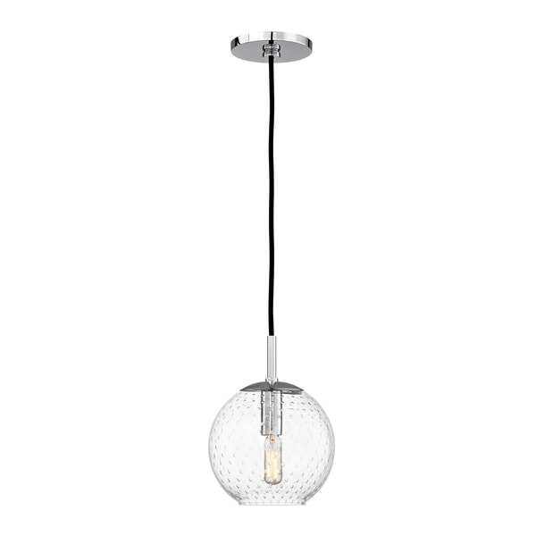 Hudson Valley Rousseau Polished Chrome Metal Small Pendant, Clear Glass