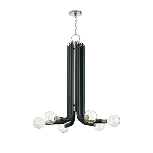 Hudson Valley Desmond Polished Nickel, Black Iron 6-light Chandelier