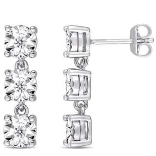 Miadora Sterling Silver 1/6ct TDW Diamond Three-Tier Dangle Earrings|https://ak1.ostkcdn.com/images/products/17237714/P23492839.jpg?impolicy=medium