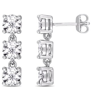 Miadora Sterling Silver 1/6ct TDW Diamond Three-Tier Dangle Earrings