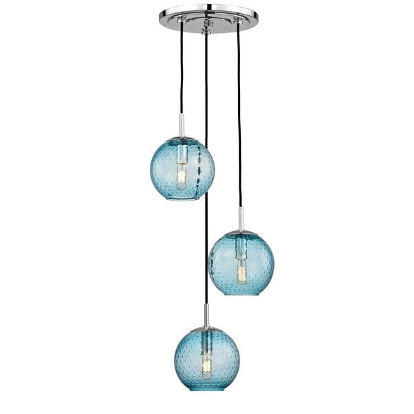 Hudson Valley Rousseau Polished Chrome Metal 3-light Cluster Pendant, Blue Glass